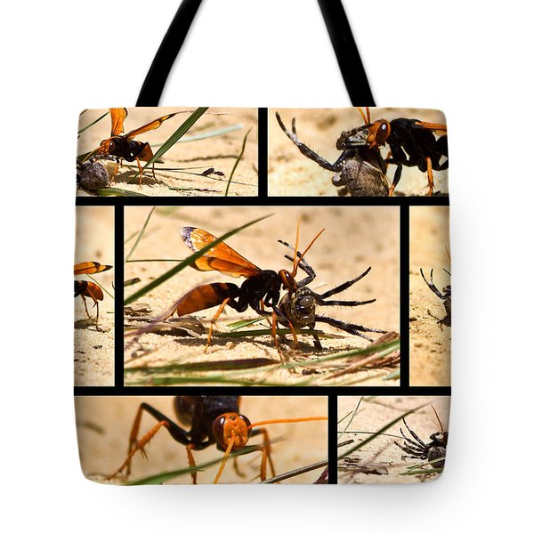 Tote Bag featuring the photograph Wasp And His Kill by Miroslava Jurcik