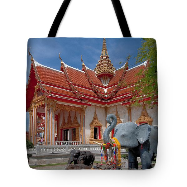 Wat Chalong Wiharn And Elephant Tribute Dthp045 Tote Bag