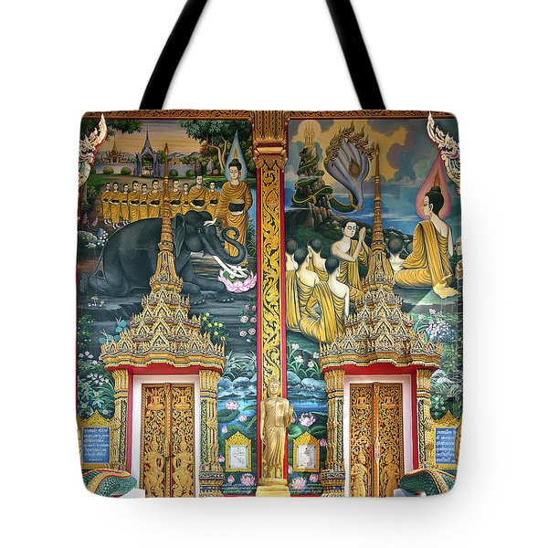 Tote Bag featuring the photograph Wat Choeng Thale Ordination Hall Facade Dthp143 by Gerry Gantt