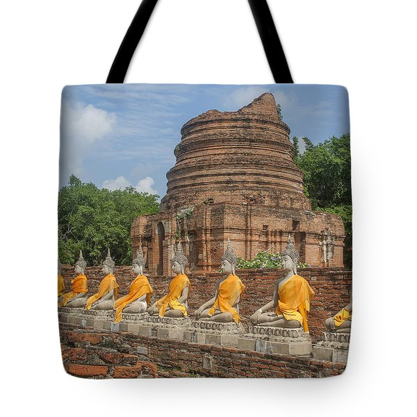 Wat Phra Chao Phya-thai Buddha Images And Ruined Chedi Dtha005 Tote Bag