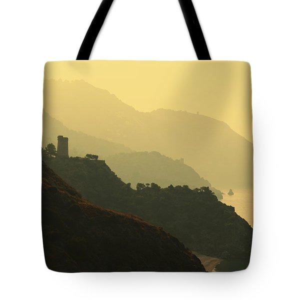 Watch Towers On The Marocerro Gordo Cliffs Tote Bag by Ken Welsh