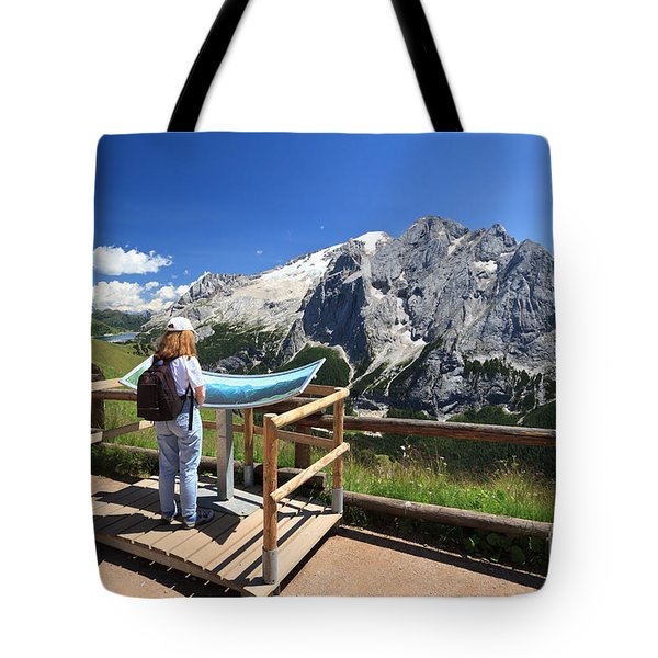 watching Marmolada mount Tote Bag