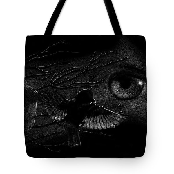 Tote Bag featuring the drawing Watching Over Sparrows by Sandra LaFaut
