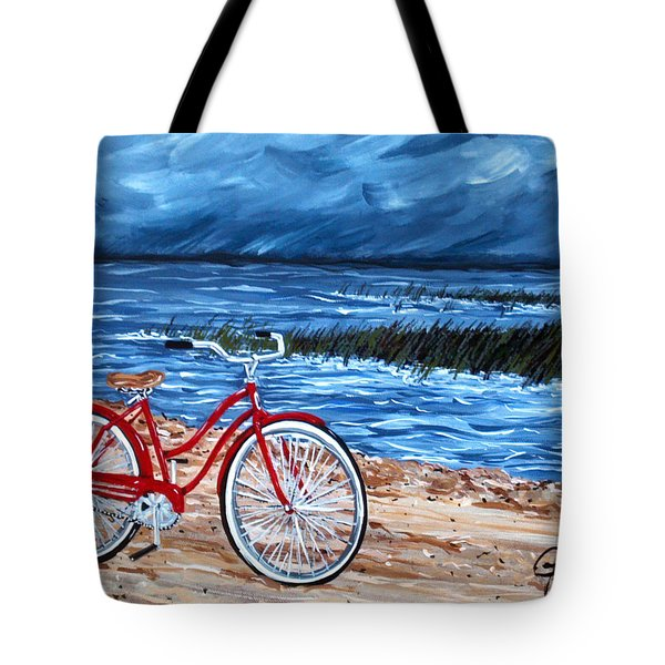 Tote Bag featuring the painting Watching The Storm by Jackie Carpenter