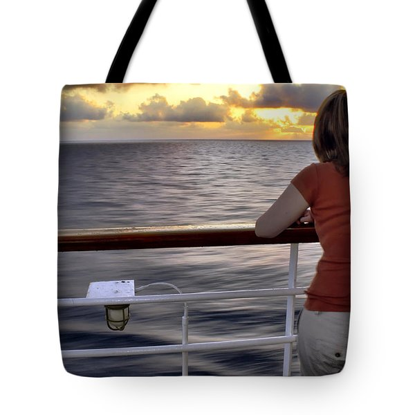 Watching The Sunrise At Sea Tote Bag by Jason Politte