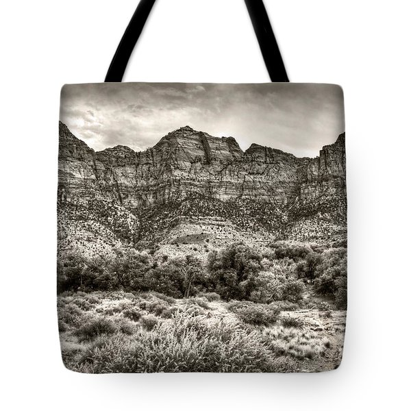 Tote Bag featuring the photograph Watchman Trail In Sepia - Zion by Tammy Wetzel