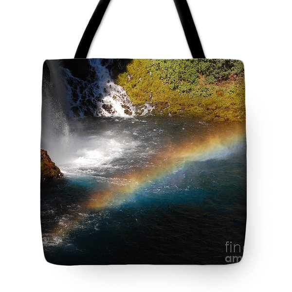 Tote Bag featuring the photograph Water And Rainbow by Debra Thompson