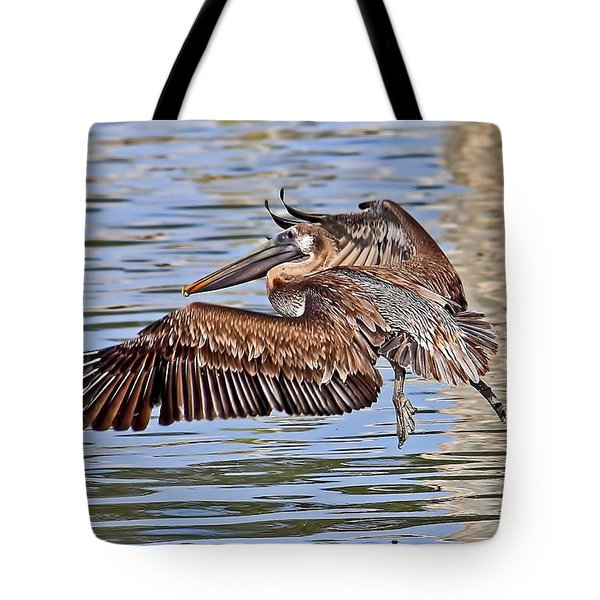 Water Ballet - Brown Pelican Tote Bag by HH Photography of Florida