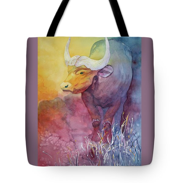 Tote Bag featuring the painting Water Buffalo by Nancy Jolley
