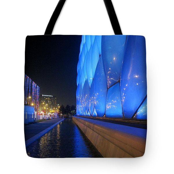 Tote Bag featuring the photograph Water Cube At Night by Alfred Ng