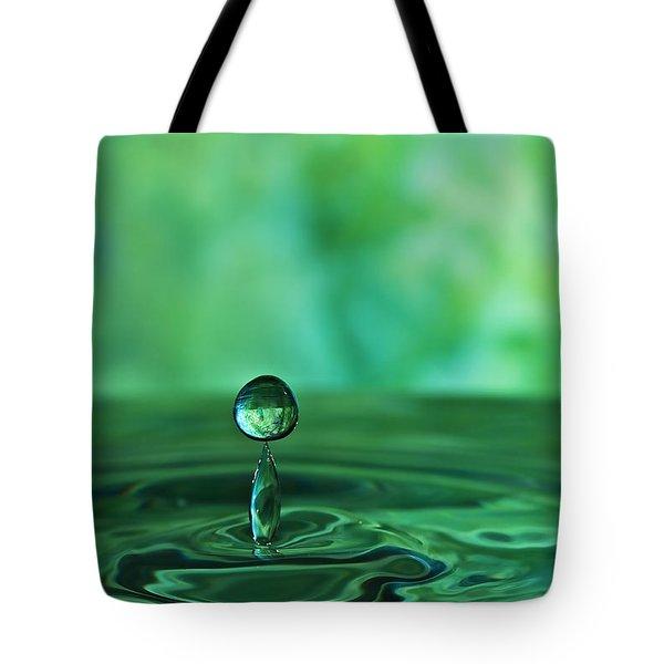 Water Drop Green Tote Bag by Linda Blair
