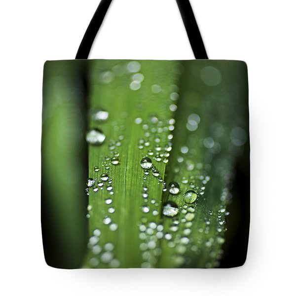 Water Droplets On Grass Tote Bag