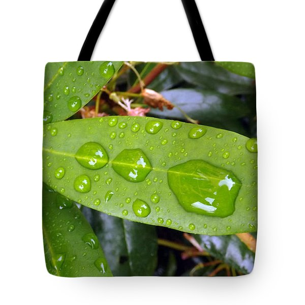 Water Droplets On Leaf Tote Bag