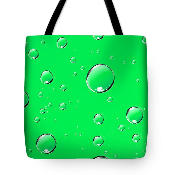 Water Drops On Green Tote Bag by Sharon Dominick