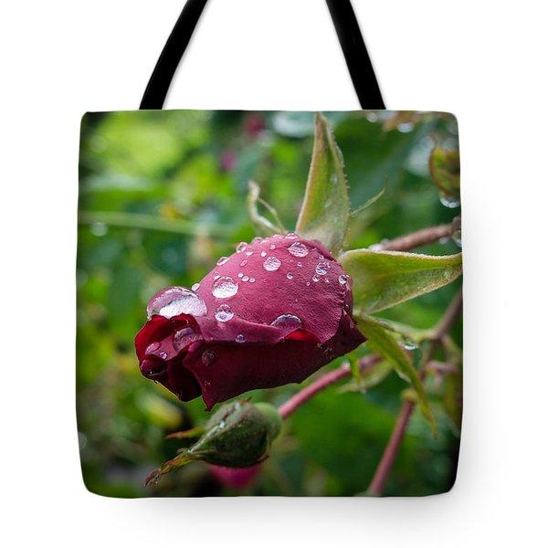 Rain Drops On Rose Tote Bag