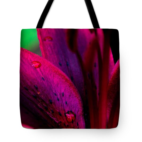 Water-drops On The Petal Tote Bag by Shelby  Young