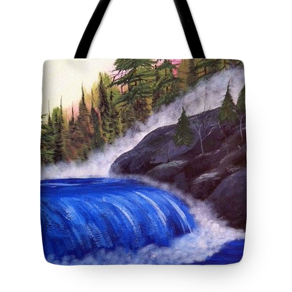 Tote Bag featuring the painting Water Fall By Rocks by Brenda Brown