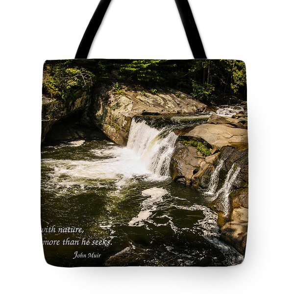 Water Fall With John Muir Quote Tote Bag