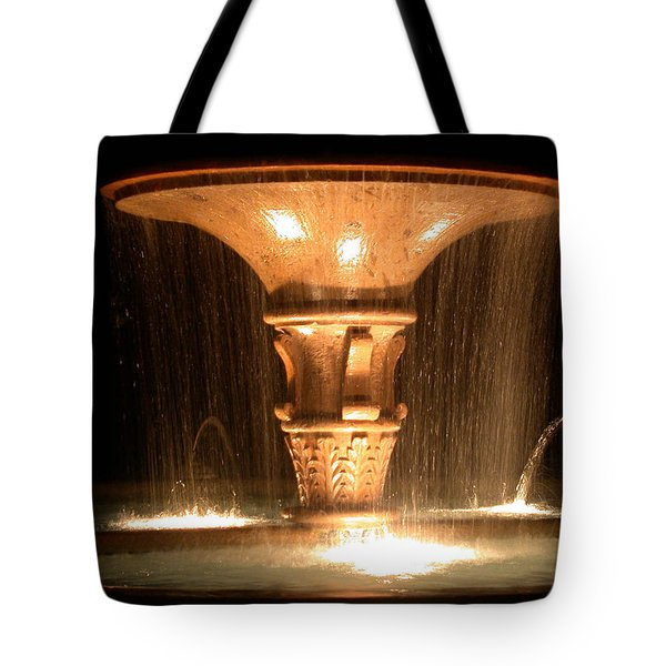 Water Fountain At Night Tote Bag