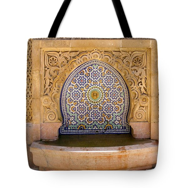 Tote Bag featuring the photograph Water Fountain Mausoleum Of Mohammed V Opposite Hassan Tower Rabat Morocco  by Ralph A  Ledergerber-Photography