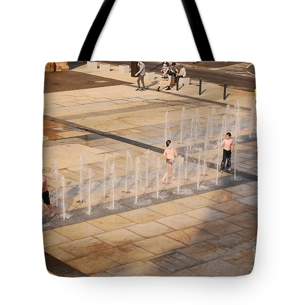 Tote Bag featuring the photograph Water Fun by Mary Carol Story