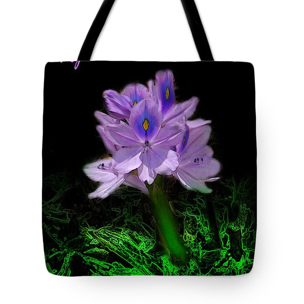 Tote Bag featuring the digital art Water Hyacinth - Psalm 97 by E B Schmidt