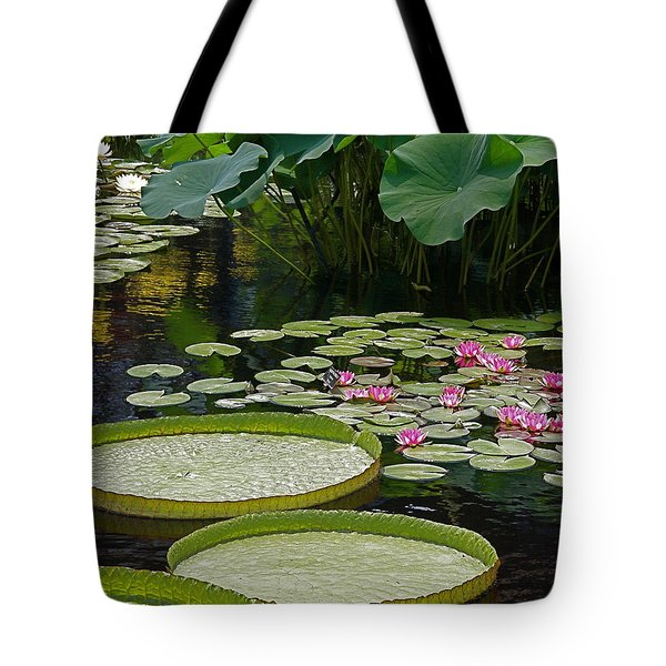Tote Bag featuring the photograph Water Lilies And Platters And Lotus Leaves by Byron Varvarigos