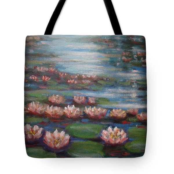 Water Lilies In Monet Garden Tote Bag