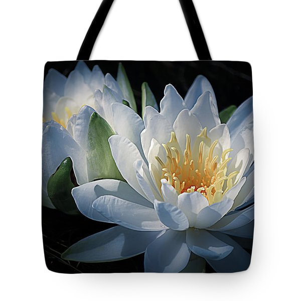Water Lilies In White Tote Bag by Julie Palencia