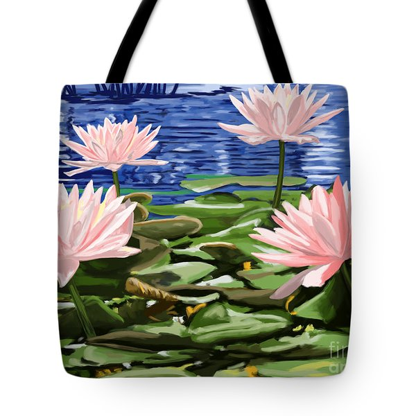 Water Lilies Tote Bag by Tim Gilliland