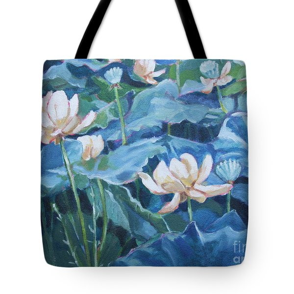 Water Lilies Two Tote Bag by Jan Bennicoff