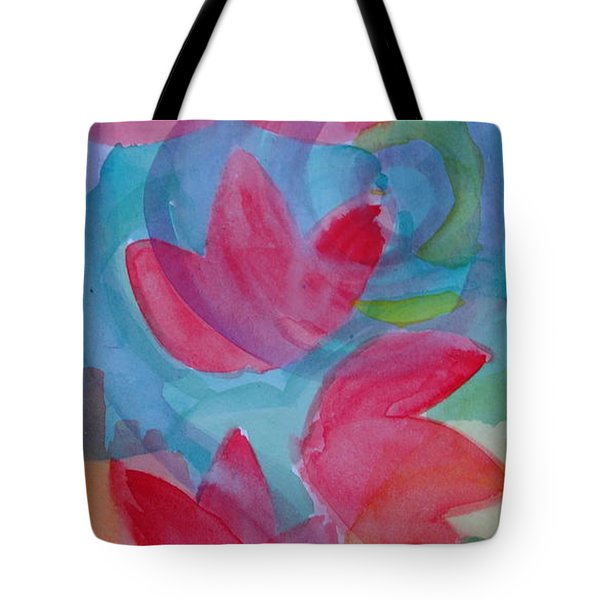 Water Lilies Water Swirls Version II Tote Bag by Claudia Smaletz