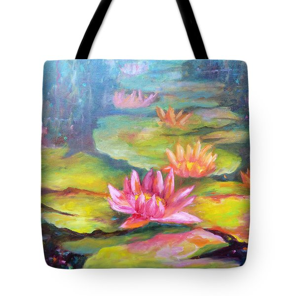 Water Lilly Pond Tote Bag by Carolyn Jarvis