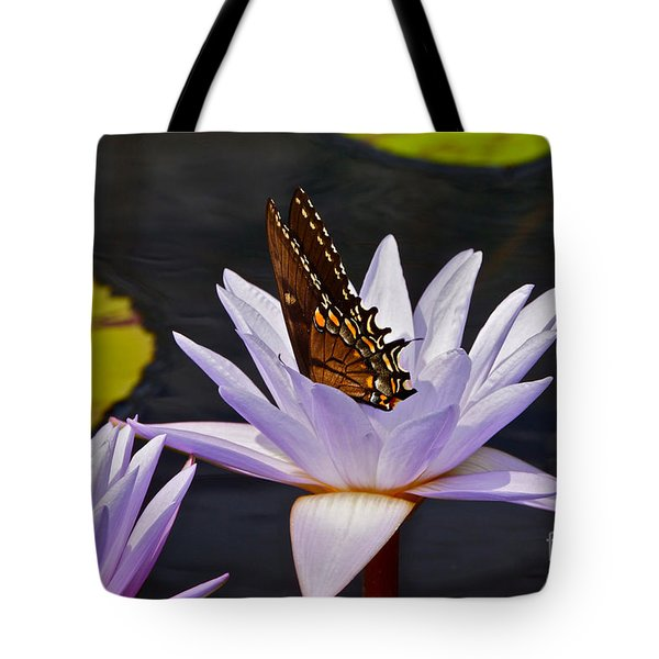 Water Lily And Swallowtail Butterfly Tote Bag