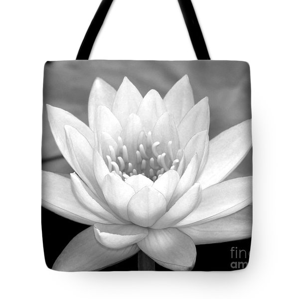 Tote Bag featuring the photograph Water Lily In Black And White by Sabrina L Ryan