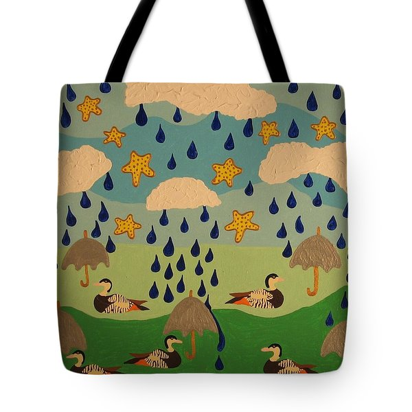 Tote Bag featuring the painting Water Off A Duck's Umbrella by Erika Chamberlin