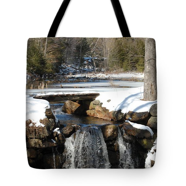 Tote Bag featuring the photograph Water Over The Dam by Mim White
