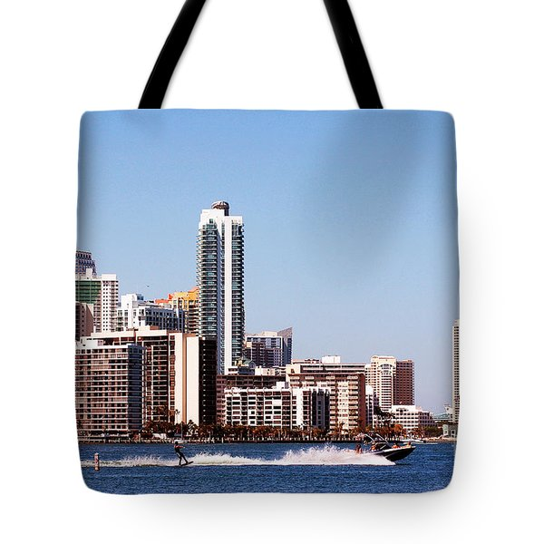 Tote Bag featuring the photograph Water Skiing by Carsten Reisinger
