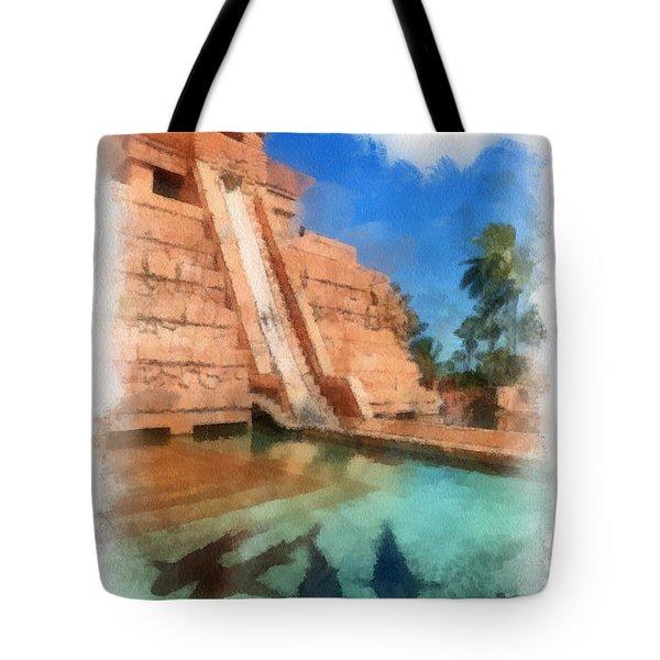 Water Slide At The Mayan Temple Atlantis Resort Tote Bag