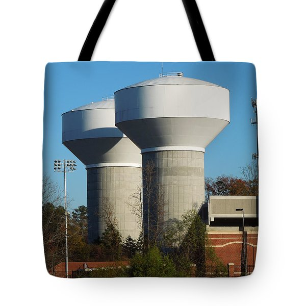 Tote Bag featuring the photograph Water Tanks by Pete Trenholm