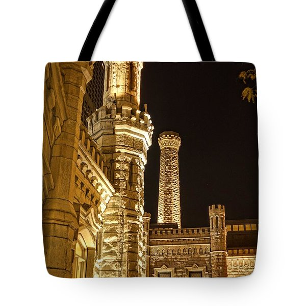 Water Tower At Night Tote Bag by Daniel Sheldon