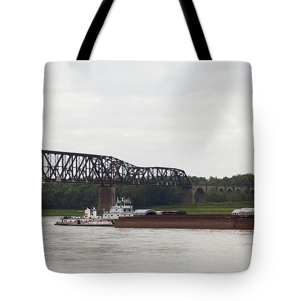 Tote Bag featuring the photograph Water Under The Bridge - Towboat On The Mississippi by Jane Eleanor Nicholas
