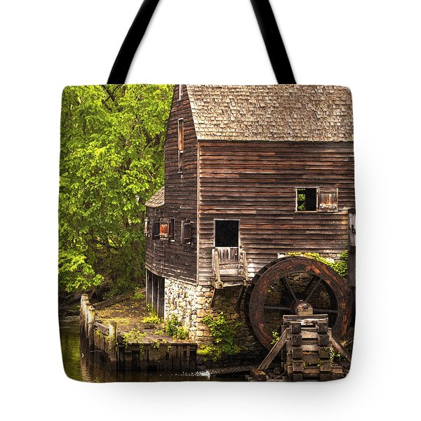 Tote Bag featuring the photograph Water Wheel At Philipsburg Manor Mill House by Jerry Cowart