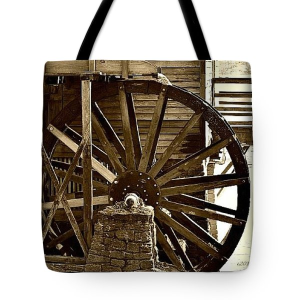 Tote Bag featuring the photograph Water Wheel At The Grist Mill by Tara Potts