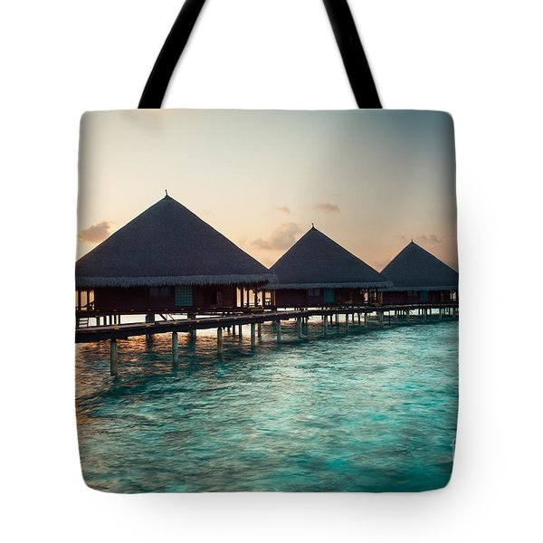 Waterbungalows At Sunset Tote Bag