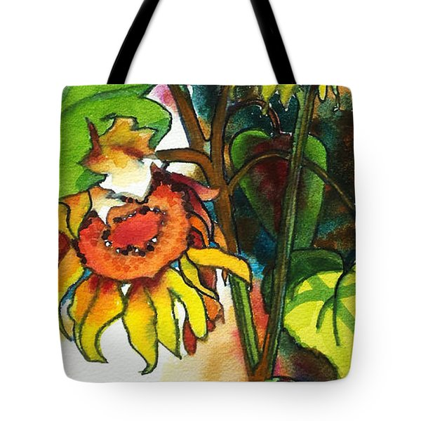 Tote Bag featuring the painting Sunflowers On The Rise by Kathy Braud