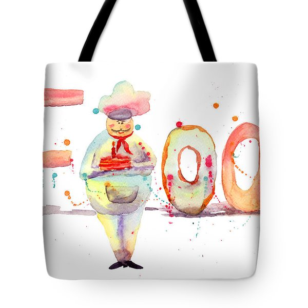 Watercolor Illustration Of Inscription Food With Chef  Tote Bag by Regina Jershova