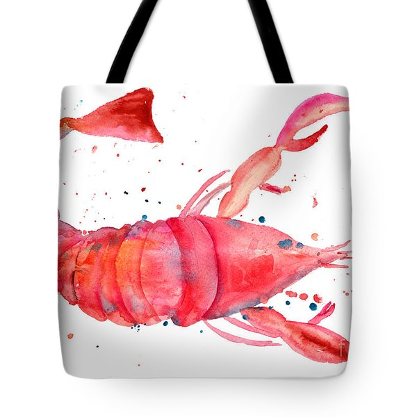 Watercolor Illustration Of Lobster Tote Bag