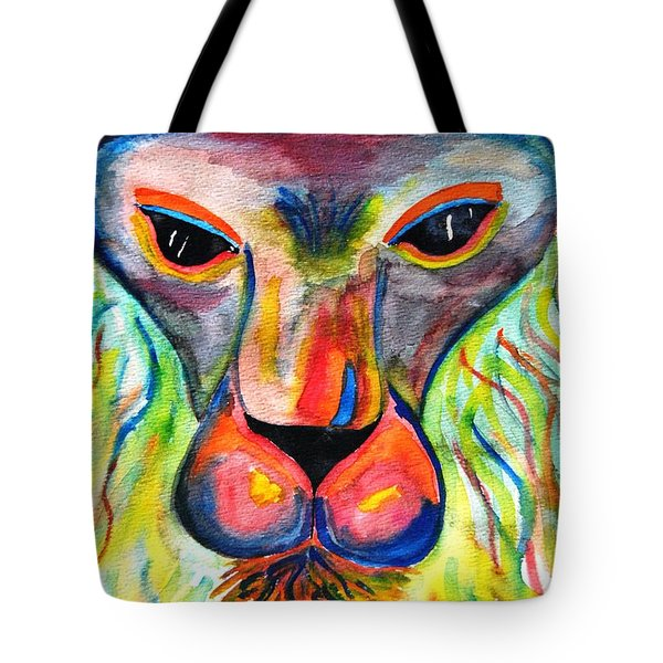 Watercolor Lion Tote Bag by Angela Murray