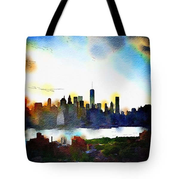 Watercolor Manhattan Tote Bag by Natasha Marco